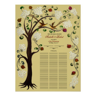 100 guests Quaker Wedding - White-B Tree of Life Poster