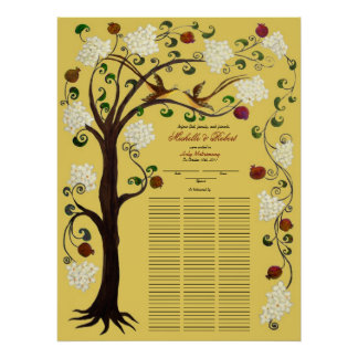 100 guests Quaker Wedding - White Tree of Life Poster