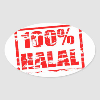 100% halal oval sticker