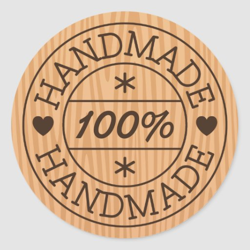 ... handmade or product name, stamp on wood classic round sticker | Zazzle