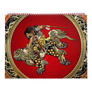 [100] Hokusai - Shoki que montan el león de Shishi Calendario De Pared