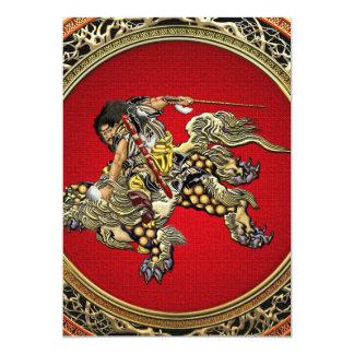 [100] Hokusai - Shoki Riding Shishi Lion Card