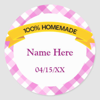 100% Homemade Food Label - Pink Classic Round Sticker