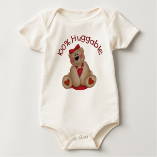 100% Huggable Girl Baby Bodysuit