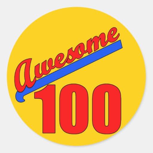 100 impresionantes impresionantes en 100 años etiqueta redonda