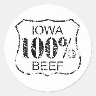 100% Iowa Beef Round Stickers