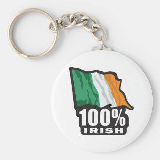 100%-IRISH BASIC ROUND BUTTON KEYCHAIN