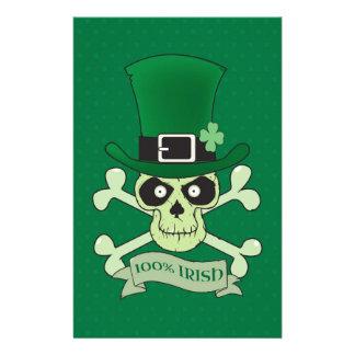 100% Irish.Green lucky irish skull Stationery Paper