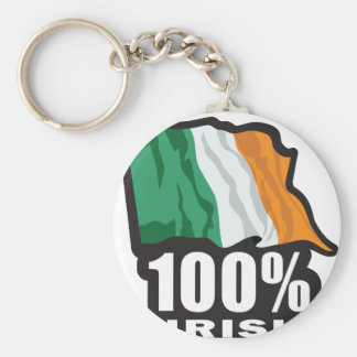 100% Irish Proud to Be Irish Keychain