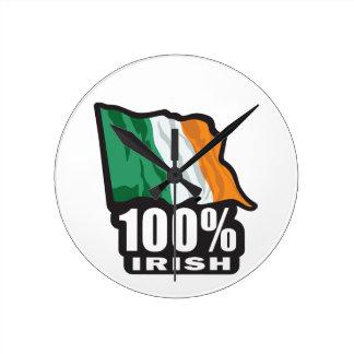 100% Irish Proud to Be Irish Round Clock