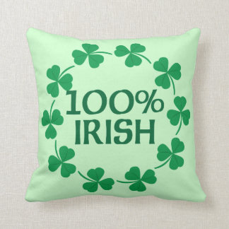 100% Irish Shamrocks Throw Pillow