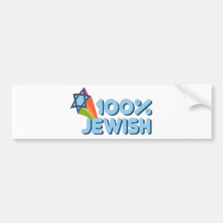 100% JEWISH + Magen David Bumper Sticker