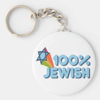 100% JEWISH + Magen David Key Chain
