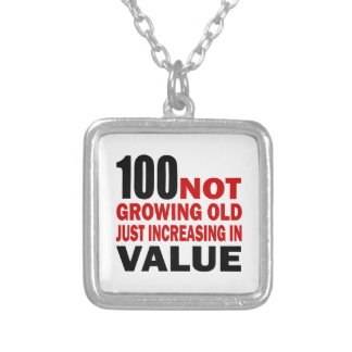 100 Just Growing Birthday Square Pendant Necklace