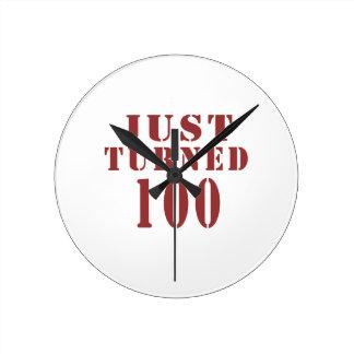 100 Just Turned Birthday Round Clock
