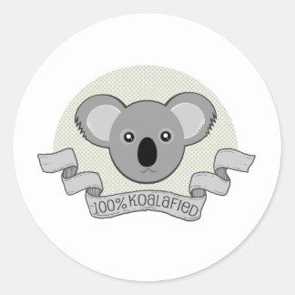 100% Koalafied Classic Round Sticker