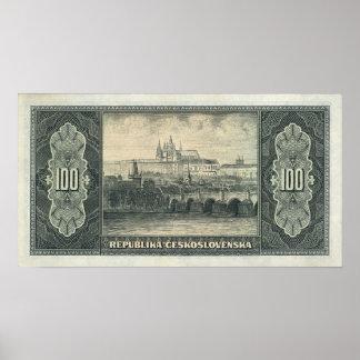 100 Korun Czechoslovakia 1945 Poster