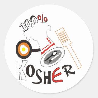 100% Kosher Classic Round Sticker