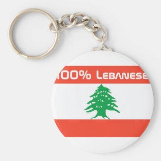 100% Lebanese Basic Round Button Keychain