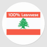 100% Lebanese Round Sticker