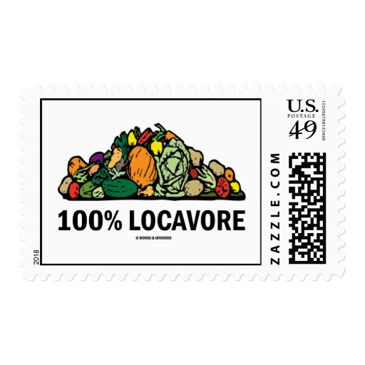 100% Locavore (Pile Of Vegetables) Postage Stamp