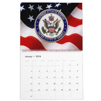 [100] LOS E.E.U.U. Emblema del sistema de Attaché Calendario De Pared