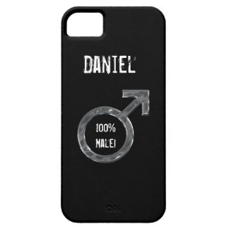 100% Male!-Male Symbol/Faux Metal+Name iPhone SE/5/5s Case