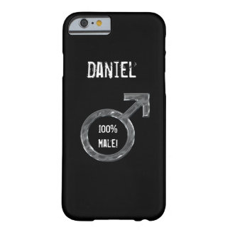 100% Male!- Symbol/Faux Metal+Name Barely There iPhone 6 Case