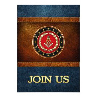 "[100] Masonic Square and Compasses [3rd Degree] 5"" X 7"" Invitation Card"