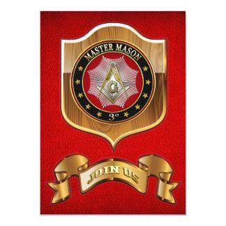 """[100] Master Mason - 3rd Degree Square & Compasses 5"""" X 7"""" Invitation Card"""