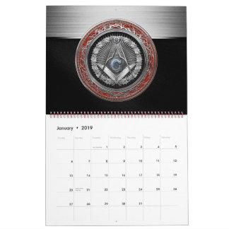 [100] Master Mason - Silver Square & Compasses Calendar