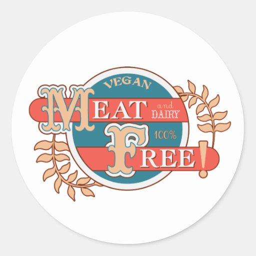100% Meat Free Vegan Classic Round Sticker