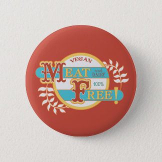 100% Meat Free Vegan Pinback Button