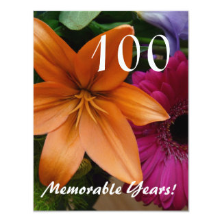 100 Memorable Years!-Birthday Party/Orange Lily Card