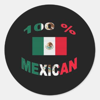 100% Mexican Classic Round Sticker