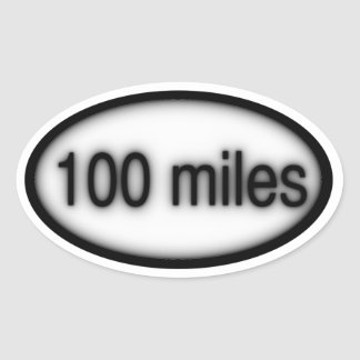 100 miles oval sticker