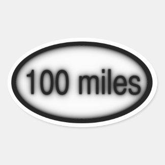 100 millas pegatina ovalada
