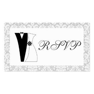 100 Mini Damask Wedding RSVPs Cute Bride & Groom Double-Sided Standard Business Cards (Pack Of 100)