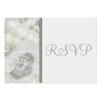 100 Mini RSVP Cards Silver & White Wedding Jewels Large Business Card