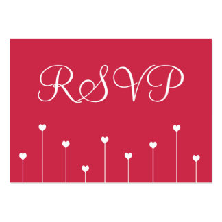100 Mini RSVP Cards Simple, Modern Pink Love Heart Business Card Template
