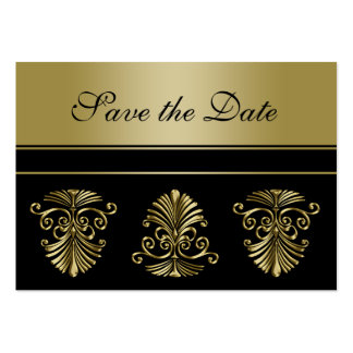 100 Mini Save the Date Announcements Gold Damask Large Business Card