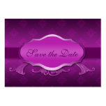100 Mini Save the Date Announcements Purple Damask Business Card