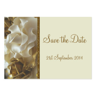 100 Mini Save the Date Cards Gold & Ivory Roses Large Business Cards (Pack Of 100)