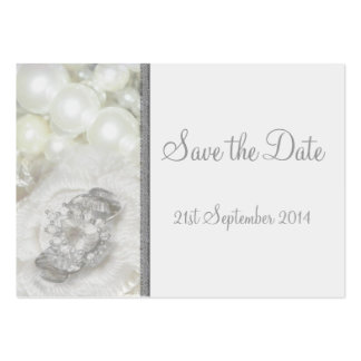 100 Mini Save the Date Cards White & Silver Jewels Large Business Card