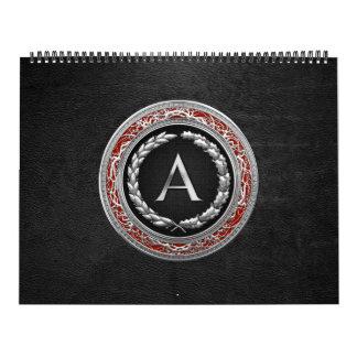 """[100] monograma de plata del vintage de """"A"""" Calendario De Pared"""