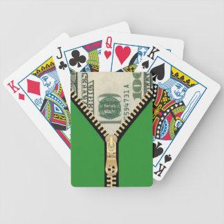$100 naipes de la cremallera del dinero baraja cartas de poker