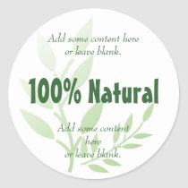 100% Natural Classic Round Sticker