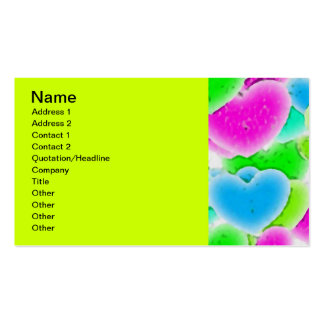 100 NEON FADING GREEN PINK BLUE HEARTS PATTERN GRA Double-Sided STANDARD BUSINESS CARDS (Pack OF 100)