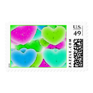 100 NEON FADING GREEN PINK BLUE HEARTS PATTERN GRA POSTAGE