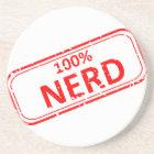 100% Nerd Rubber-stamp Sandstone Coaster